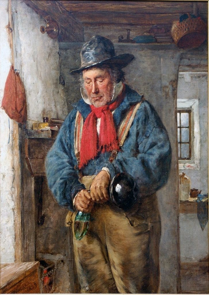 A Man Pours Whiskey into a flask (1869)