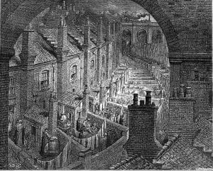 Sketching of London Slums during the Industrial Revolution