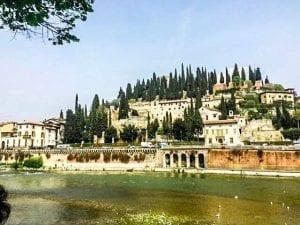 hillside of Verona with the ancient Roman theatre Teatro Romano