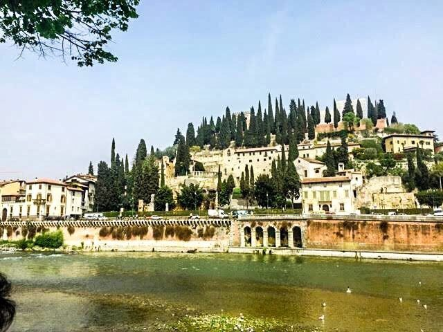 hillside of Verona with the ancient Roman theatre Teatro Romano