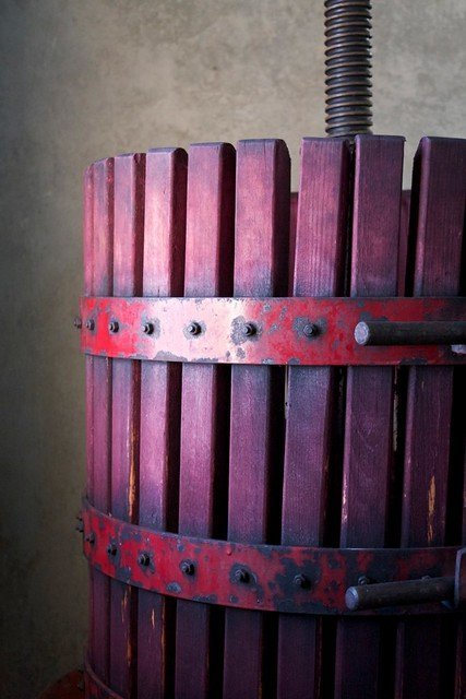 Old school wine press for making Malbec in Uco Valley, Mendoza