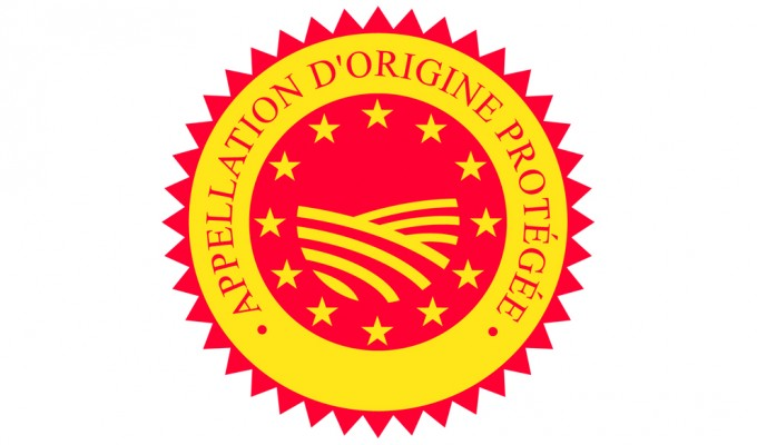 The logo for Appellation d'Origine Protegée, a guarantee on French wine labels