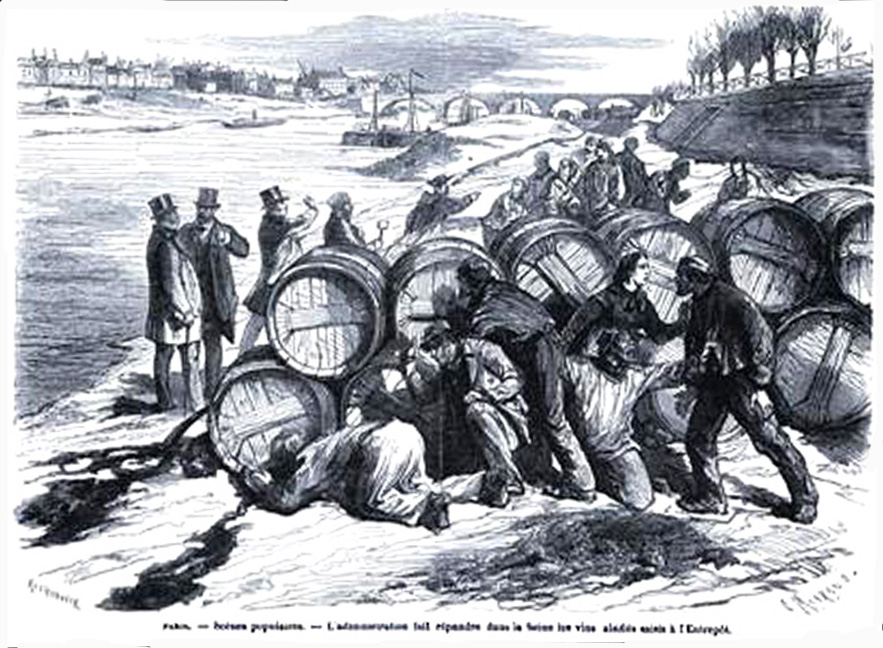 poster in Le Monde Illustré in 1870 of fake wine being dumped into the Gironde River in Bordeaux