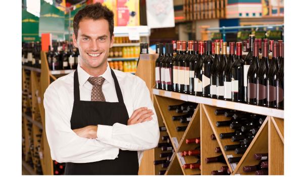 Wine clerk in a wine store.