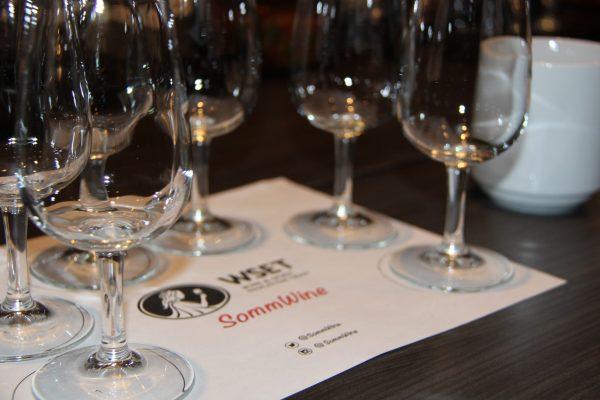 SommWine + WSET tasting matt with glasses for wine class