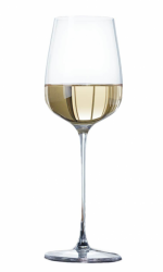 Photo of a white wine glass that tapers at the top